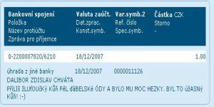 Česká spořitelna, příchozí platba z mBank