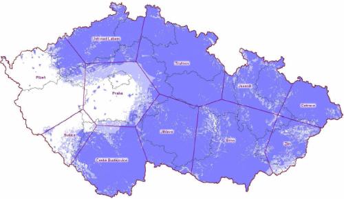ČT 1 analog - pokrytí ČR k 15.3.2010