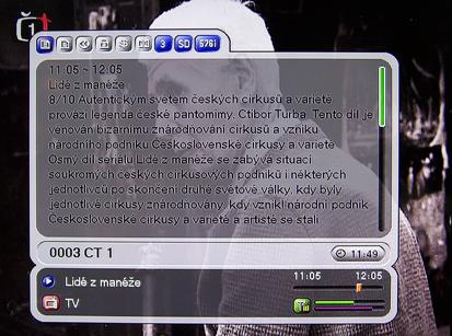 Homecast HT 5101 CO ČT 1 EPG detail