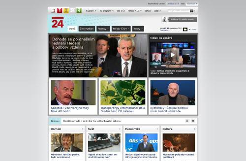 ČT 24 - nový web, homepage červen 2011