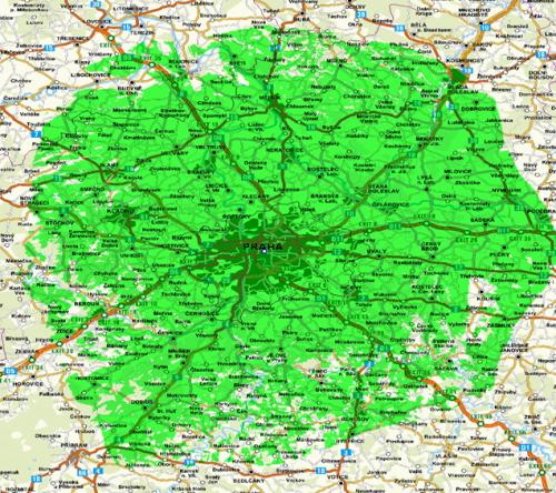 Mapa pokrytí - Praha Žižkov DVB-T2 plán pilotu