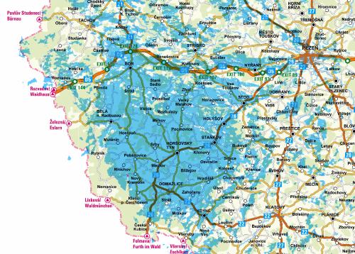 Mapa pokrytí - síť A - Domažlice - článek