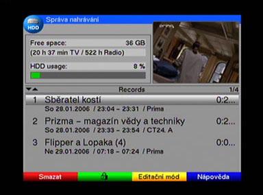 TechniSat DigiCorder T1 HDD vyuziti