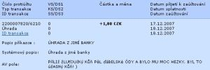 Komerční banka, příchozí platba z mBank