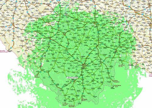 Předpokládaná mapa pokrytí - Kleť
