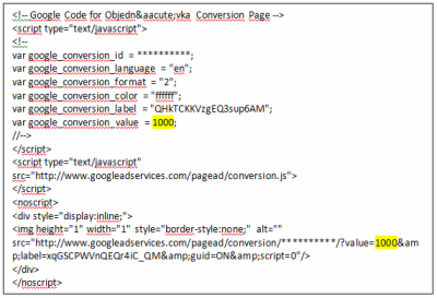 Ukázka měřícího kódu AdWords -> žlutě vyznačeno, kam se má nahrát konkrétní hodnota objednávky