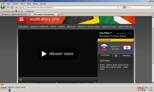 MS fotbal 2010 - web ČT msfotbal.cz stream