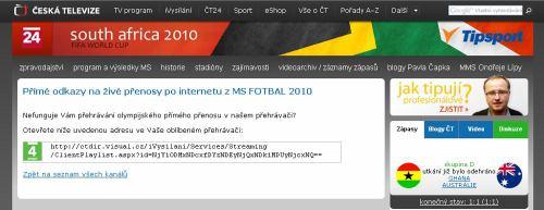 MS fotbal 2010 - web ČT msfotbal.cz stream nápověda