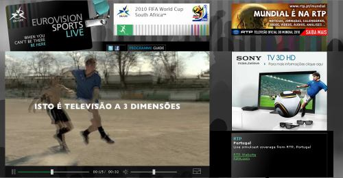 MS fotbal 2010 - web EBU reklama na TV Sony 3D