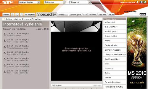 MS fotbal 2010 - web STV úvodní stream