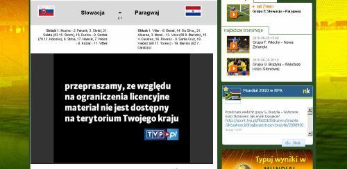 MS fotbal 2010 - web TVP stream blokace