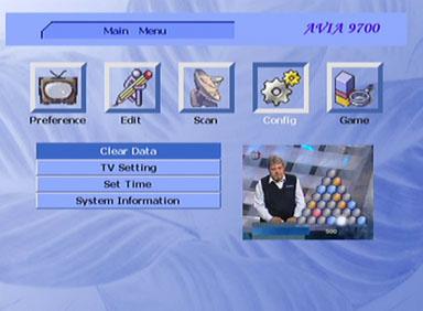 Sigmatek DVBX-120 menu