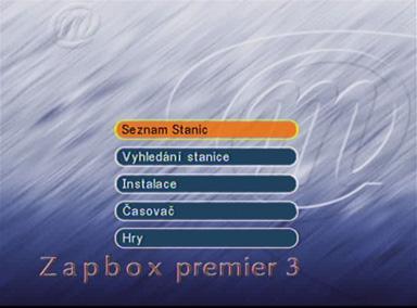 Zapbox premier 3 menu