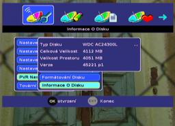 Sencor SDB 3007T menu HDD II