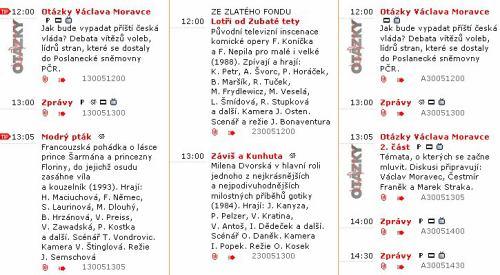 Program ČT - neděle 30.5.2010