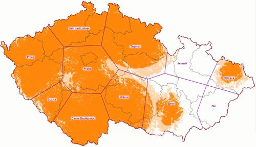 Mux 1 - předpokládané pokrytí ČR k 30.10.2009