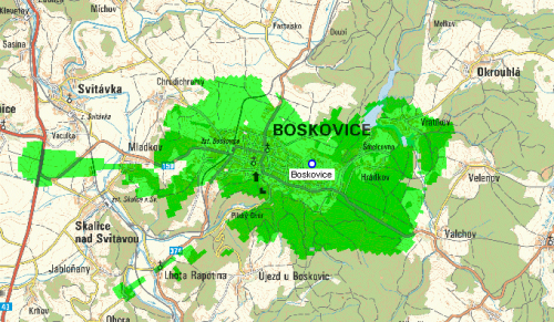 Mux 1 - pokrytí Boskovice