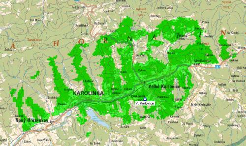 Mux 1 - pokrytí Velké Karlovice