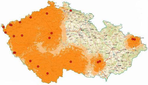 Mux 1 - pokrytí ČR k 1.7.2009