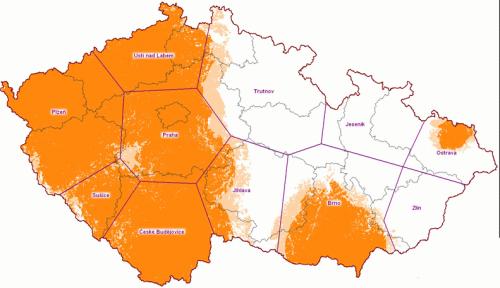 Mux 2 - předpokládané pokrytí ČR k 30.10.2009