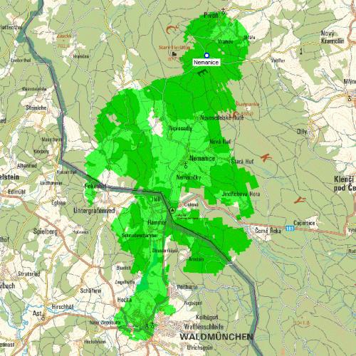 Mux 1 - pokrytí Nemanice Vranovský vrch