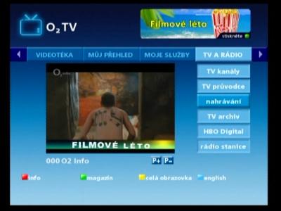 O2TV - menu nahrávání