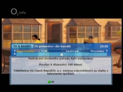 O2TV -  potvrzení nahrávání