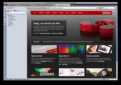 Opera Unite vzhled prohlížeče