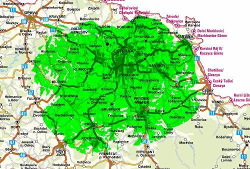 Mapa pokrytí - mux 3 Ostrava