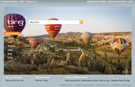 Bing.com titulní stránka
