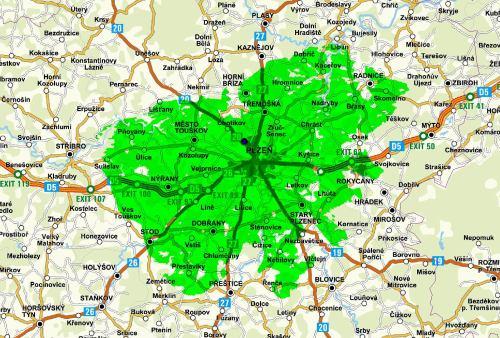Mapa pokrytí - mux 3 Plzeň