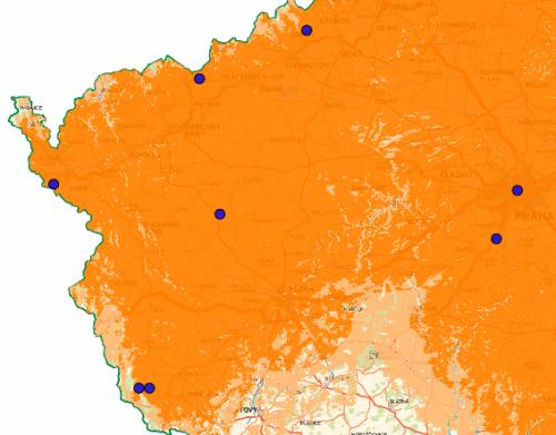 Mapa pokrytí - Prima digitál Plzeň