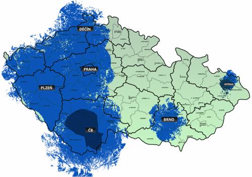 Televize Public - mapa pokrytí leden 2010
