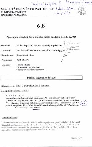 Smlouva RTA - Pardubice 1