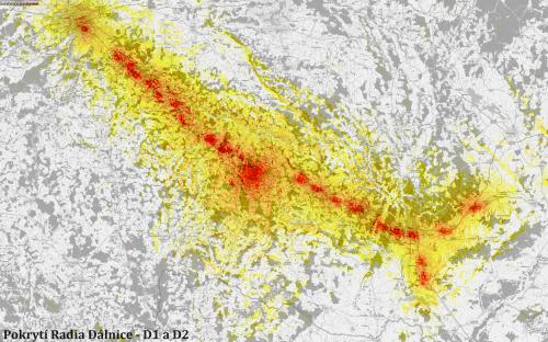 Rádio Dálnice - mapa pokrytí podél D1