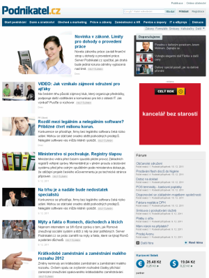 Screenshot titulka Podnikatel.cz redesign