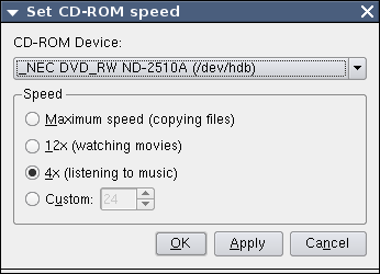 Set CDROM speed