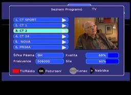 Sencor SDB 3007T seznam programů