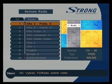 Seznam rádií (Strong SRT 5119)
