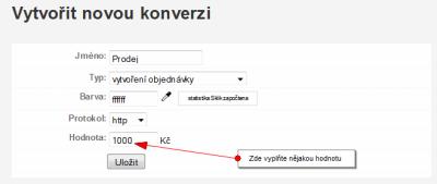 Screenshot nastavení měření konverzí ze systému Sklik