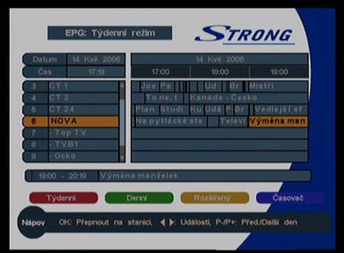 Strong 5126 EPG tydenni