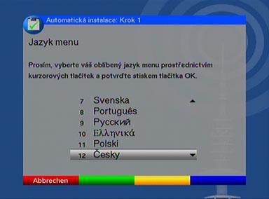 TechniSat Digit volba jazyka