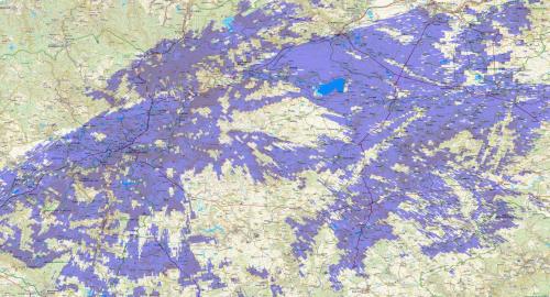 Mapa pokrytí - test DAB/DAB+ Klínovec 2009