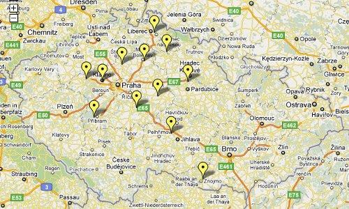 Teleko - mapa FM vysílačů v ČR