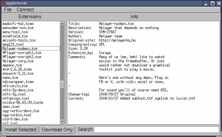 Tiny Core Linux správce