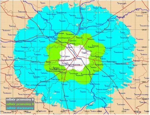 Varšava experiment DVB-T mapka