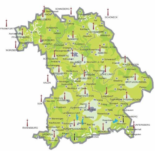 DVB-T mapa vysílačů Bavorsko podrobná