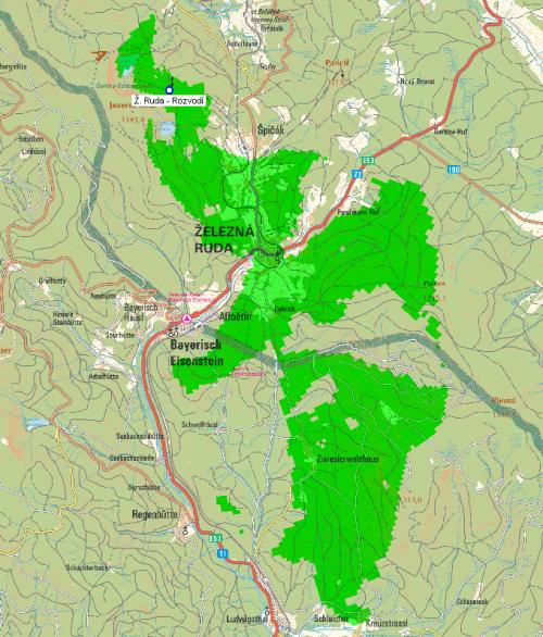 Železná Ruda - mapa pokrytí dokrývače muxu 2