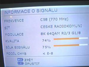 Sencor STV 2112DVBT - informace o signálu