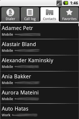 Android kontakty